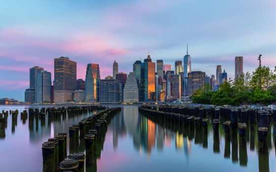 park, бруклин, мост, new, york, город, нью, побережье