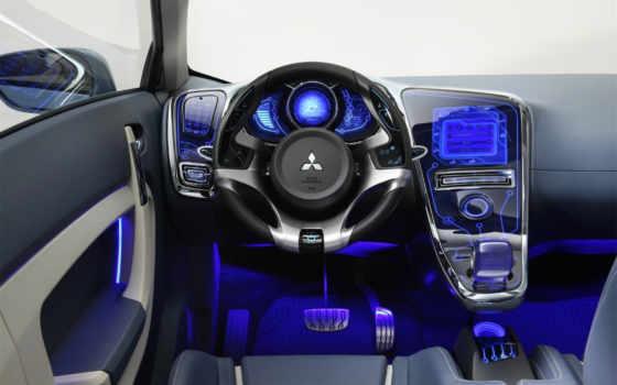 салон, авто, neon, blue, салона, автомобиля,
