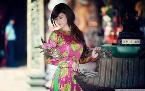 sukienka, azjatka, piękna, kwiatów, bukiet, kolorowa, красивыми, girls,