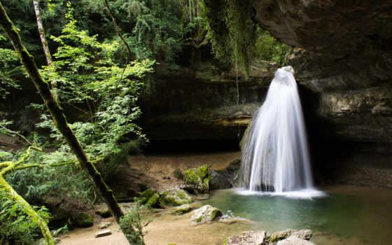деревья, водопад, природа