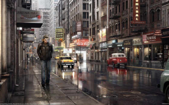 парень, улица, город