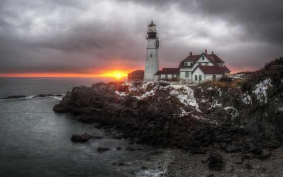 голова, portland, мэн, свет, lighthouse, cape, elizabeth, bay,