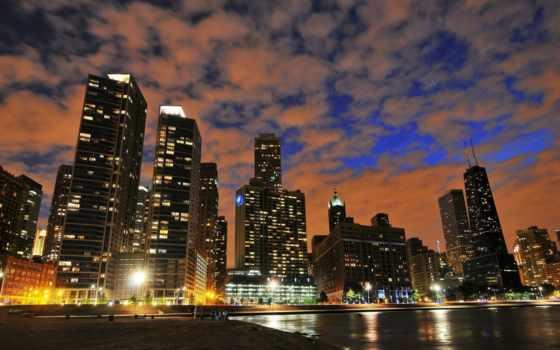 pulpit, шпалери, ночь, компьютер, skyscrapers, tapety, różne, world, chicago,