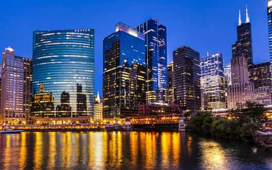 chicago, ночь, gallery, огни, skyline, иллинойс, building,