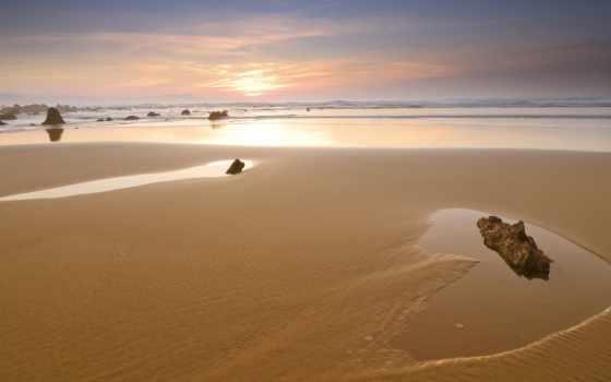 море, камни, берег, закат, песок, высоком, небо, качестве,