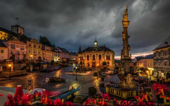 ночь, австрия, austrian, улица, огни, monuments, weitra, горы, vienna,