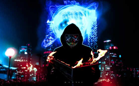 мужчина, маска, arm, neon, dark, burn, книга, огонь, город
