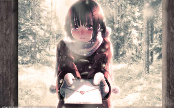 anime, winter, snow, hair, cold, blush, short, girls, tags, letter, share, characters, original,