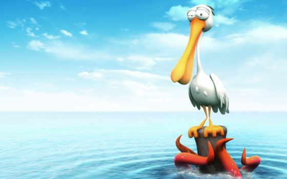 нарисованный, пеликан,