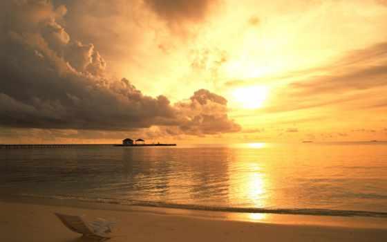 облака, море, пляж