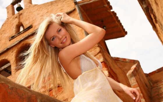 blonde, платье, белом