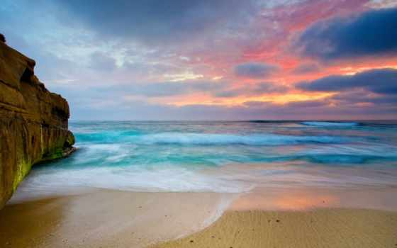 закат, море, со, морем, моря,