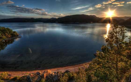 небо, качестве, water, высоком, лодки, trees, берег, горы, oblaka,