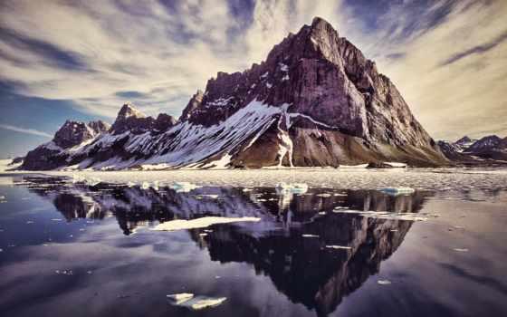 горы, небо, озеро, water, весна, oblaka, красивые, снег, лед, фоны,