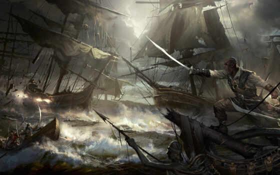 корабль, пиратский, море, cutthroat, action, png, naval