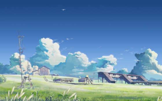 Макото, Синкай, рельсы, сарай, небо, облака,