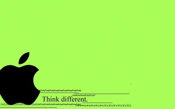 черный эпл на зелёном фоне