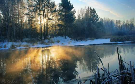 снег, landscape, утро, trees, свет, река, фоны, природа, winter,
