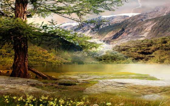 природа, пазлы, free, online, горы, fondos, озеро, дерево,