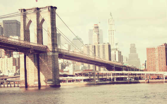 нью, york, мост, new, сша, бруклин, река,