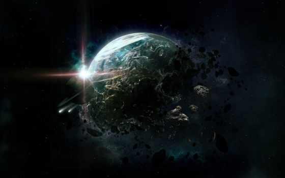 cosmos, planet, уничтожение, art, разделе, астероиды,