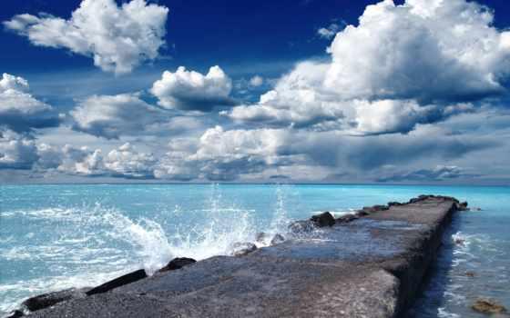 muelle, мар, oceano, fondos, nubes, pantalla, paisajes, counselling, descargar,