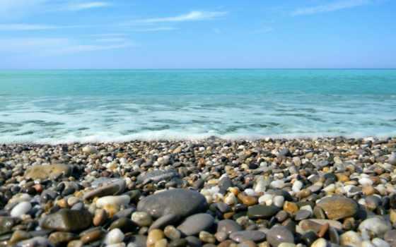 галька, камни, берег, море, спокойствие, пенка, картинка,