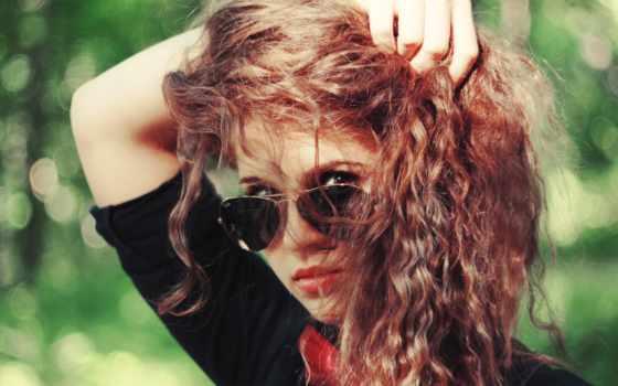 девушка, рыжая, очки, color, модные, волос,