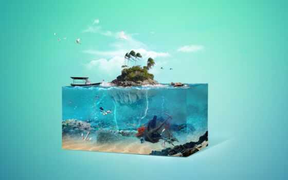 остров, fantasy, tropical, art, underwater, bild, world, base, работы