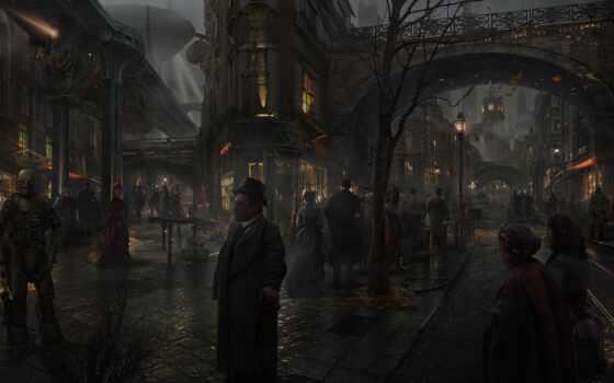 steampunk, арта, art, fantastic, улица, london, warhammer, краска, landscape, artreiting