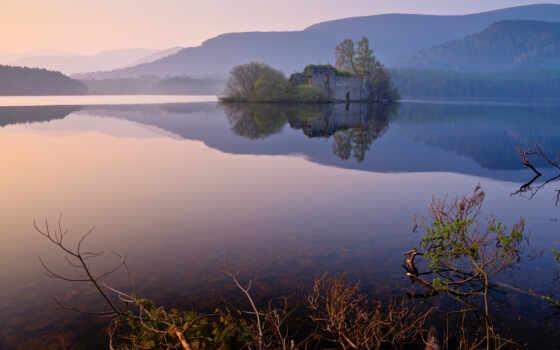 castle, разруха, озеро, отражение, штрих, landscape, гора, new, тихий