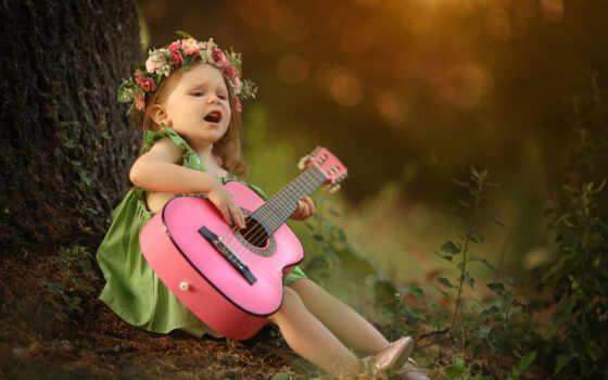 девушка, гитара, ребенок, венок, sit, little, утро, размытость, род
