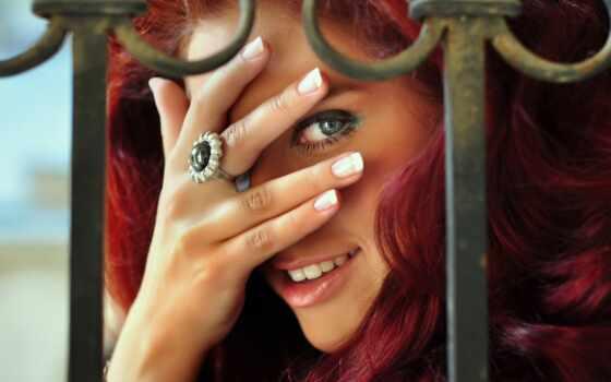 девушка, рыжая, улыбка