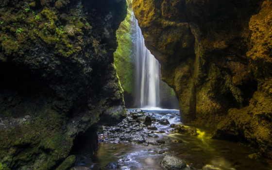 водопад, скалы, река