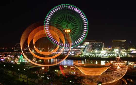 ночь, красивые, колесо