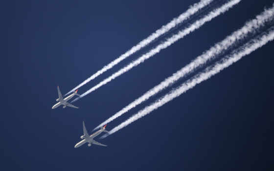 самолета, небе, два, самолеты, небо, техника, самолёт,