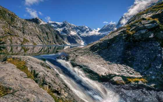 new, zealand, озеро, erskine, fiordland, waters, rushing, оц,