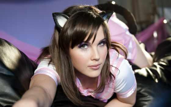 девушка, кот, ми, ушками, brunette, кошачьими, фоны,