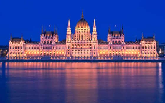 парламент, budapest, hungary, footage, ночь, stock, building, hungarian, река, дунай,