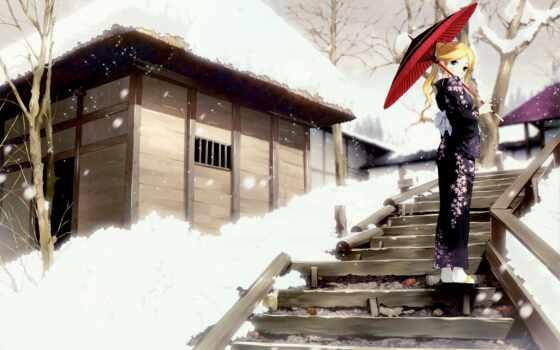 anim, гейша, девушка, кимоно, winter, random, house, narrow