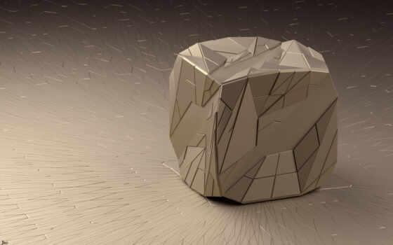 куб, фигура, линии, грани, треугольники, рендер, арт,