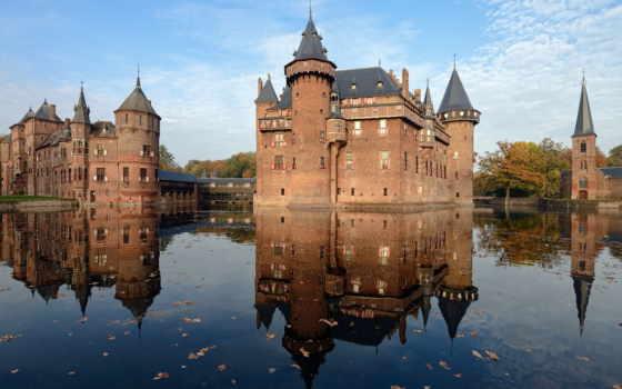 коллекция, замки, отражение, замок, воде, старинный,