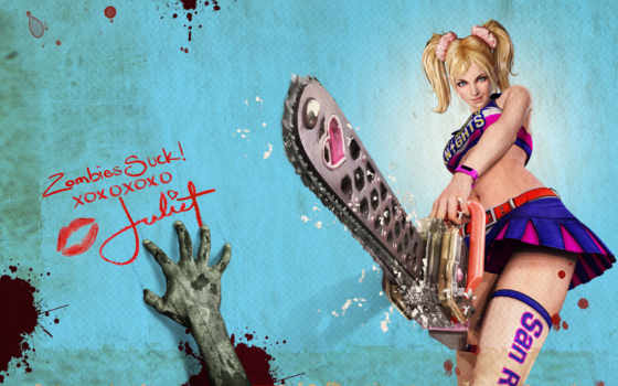 девушка, chainsaw, lollipop, игры, бензопилой, зомби,
