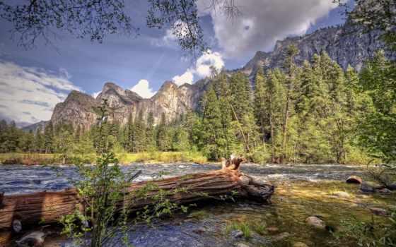 природа, сша, река, merced, горы, oblaka, california, лес, небо, trees,