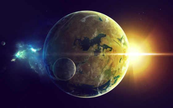 cosmos, land, universe, sun, planet, обоях, добавлено, fonday,