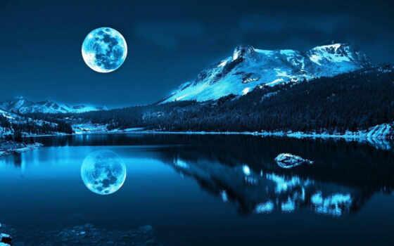 луна, над, озеро, didul