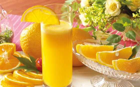апельсины, сок, цветы, стакан, картинка,