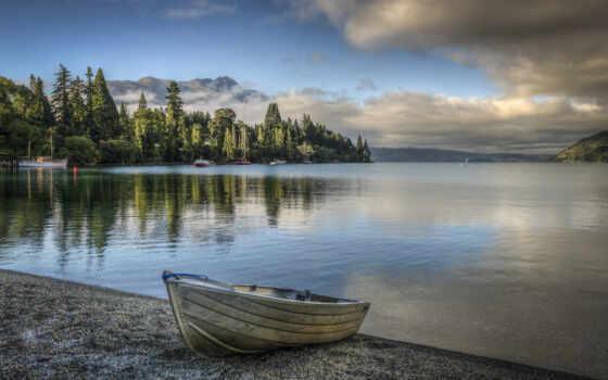 лодка, озеро, природа
