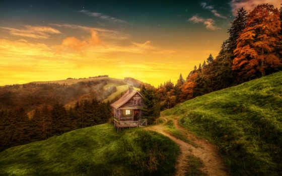 тропинка, горы, холмы, лес, горах, небо, картины, lodge, модульные, закат, rub,