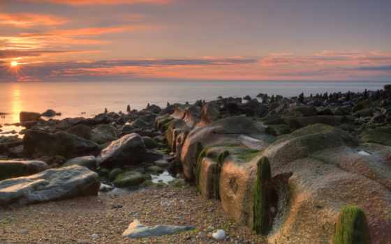 пляж, chemical, море, sun, seaham, рассвет, waves, картинка, мох, rails,